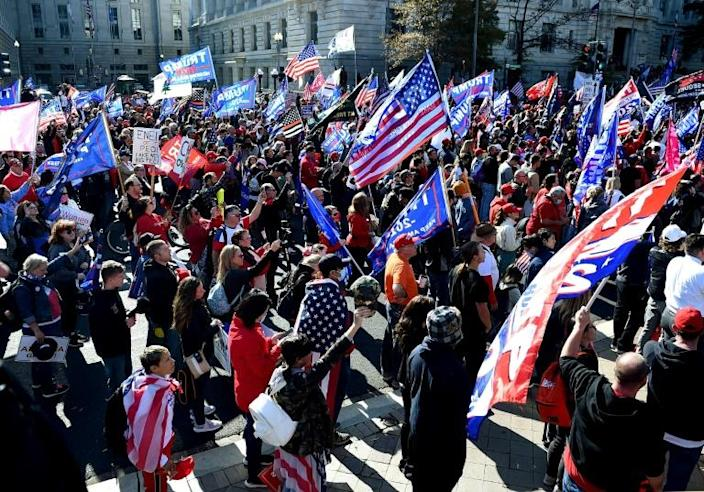 Supporters of US President Donald Trump rally in Washington, DC