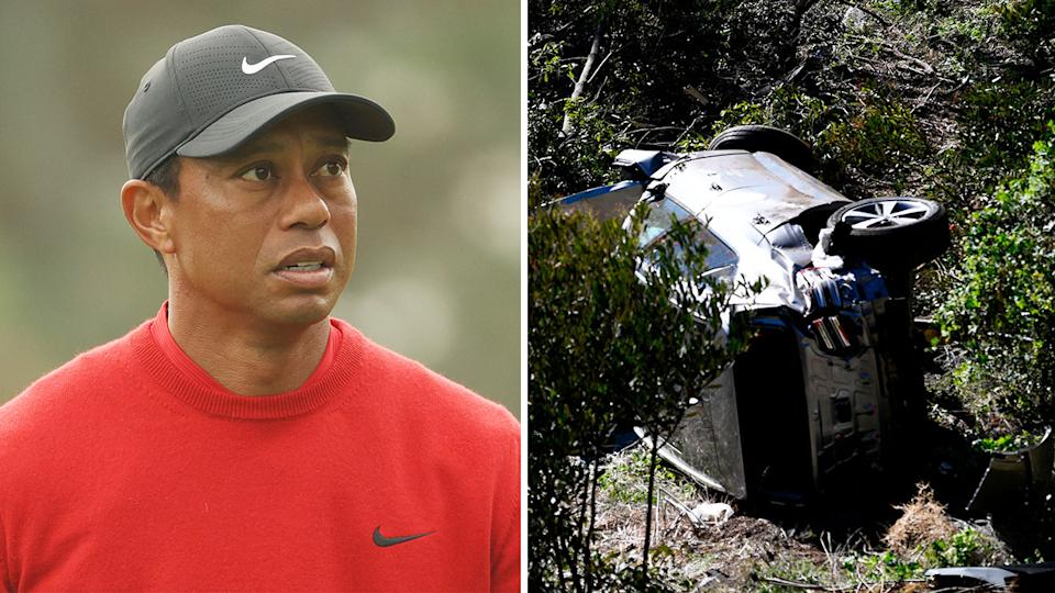 Tiger Woods (pictured left) during competition and (pictured right) his car after a crash near LA last month.