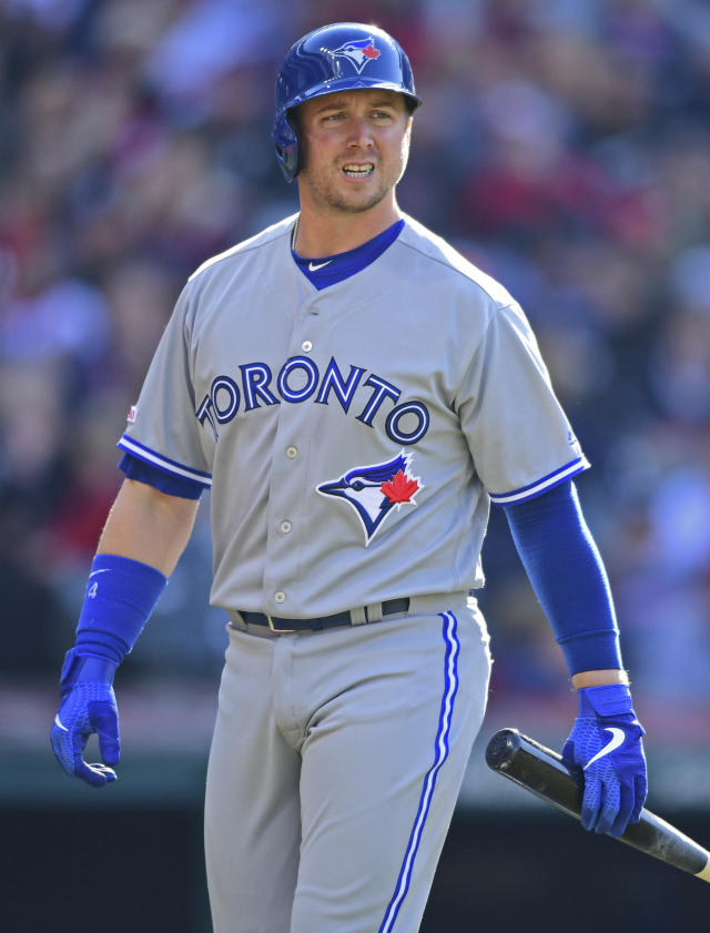 Toronto Blue Jays' Justin Smoak walks to the dugout after striking out in the third inning of a baseball game against the Cleveland Indians, Saturday, April 6, 2019, in Cleveland. (AP Photo/David Dermer)