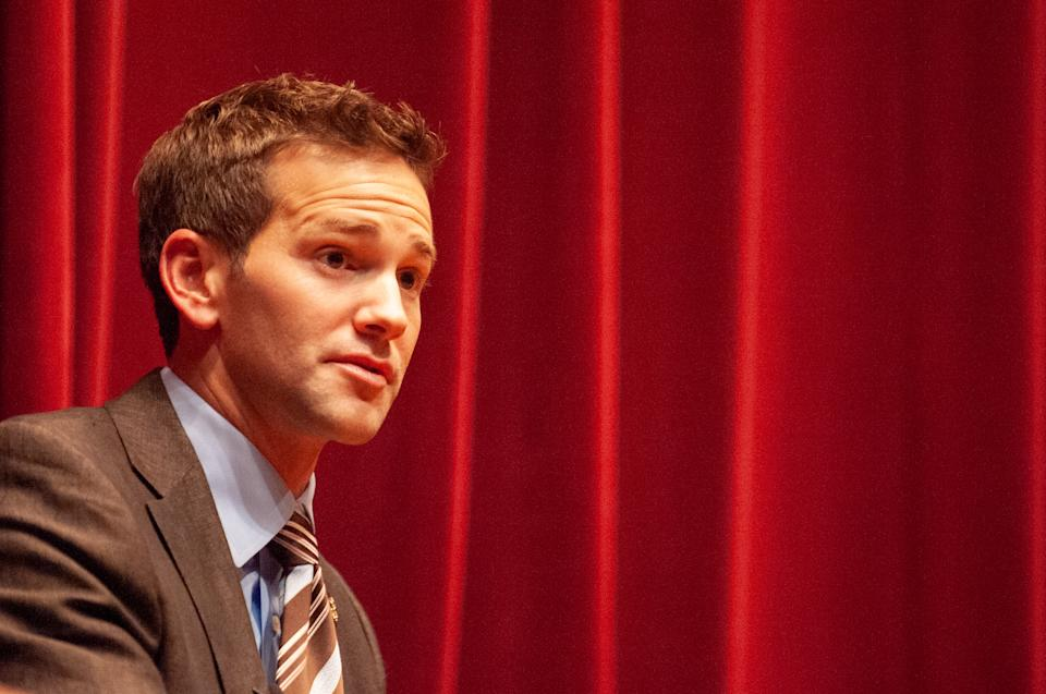 Low angle close-up of former Illinois politician Aaron Schock, participating in a Foreign Affairs Symposium at the Johns Hopkins University, Baltimore, Maryland, November 5, 2009. From the Homewood Photography Collection. (Photo by JHU Sheridan Libraries/Gado/Getty Images)