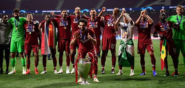 Mohamed Salah and Liverpool were smiling on Saturday, something they haven't done after the conclusion of a major final in over a decade. (Getty)