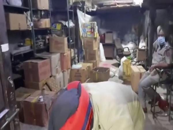 The warehouse was used to illegally store firecrackers in Jalandhar, Punjab. (Photo/ANI)