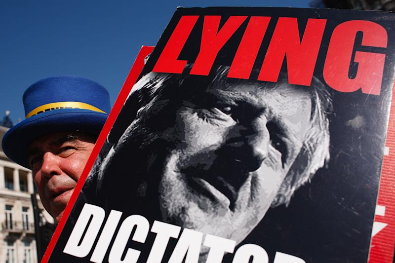 Anti-Brexit activist Steve Bray, with a placard of British Prime Minister Boris Johnson, demonstrates in Parliament Square in London, England, on September 14, 2020. (Photo by David Cliff/NurPhoto via Getty Images) (Photo: NurPhoto via Getty Images)