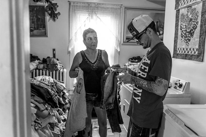 <p>Larry Fugate is a recovering heroin addict at home in Middletown, Ohio. Five months ago, his mom Terri Fugate resuscitated him after a heroin overdose. (Photograph by Mary F. Calvert for Yahoo News) </p>