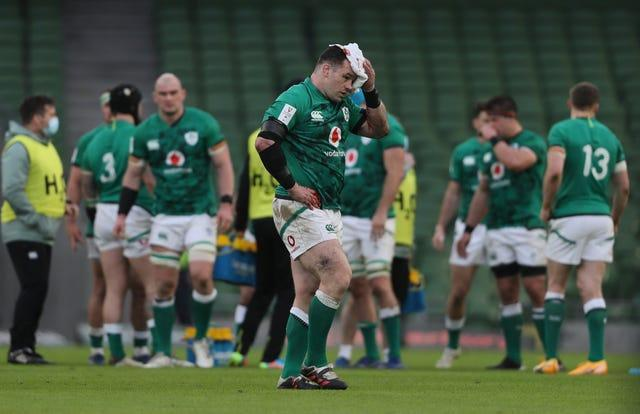 Cian Healy leaves the game with a head injury
