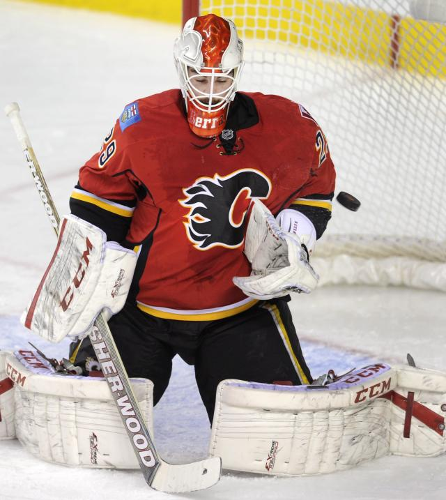 Calgary Flames goalie Reto Berra, from Switzerland, makes a save against the Florida Panthers during the second period of an NHL hockey game, Friday, Nov. 22, 2012 in Calgary, Alberta. (AP Photo/The Canadian Press, Larry MacDougal)