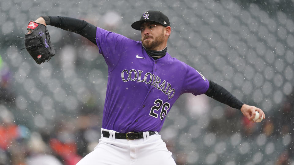 Colorado Rockies starting pitcher Austin Gomber (26) in the first inning of a baseball game Wednesday, April 21, 2021, in Denver. (AP Photo/David Zalubowski)
