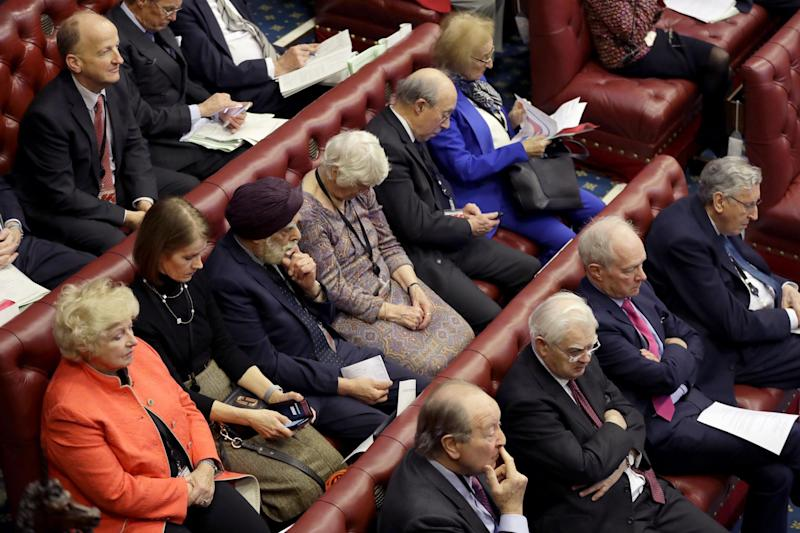 Members listen inside the House of Lords as the European Withdrawal Agreement Bill is debated at House of Lords (Getty Images)