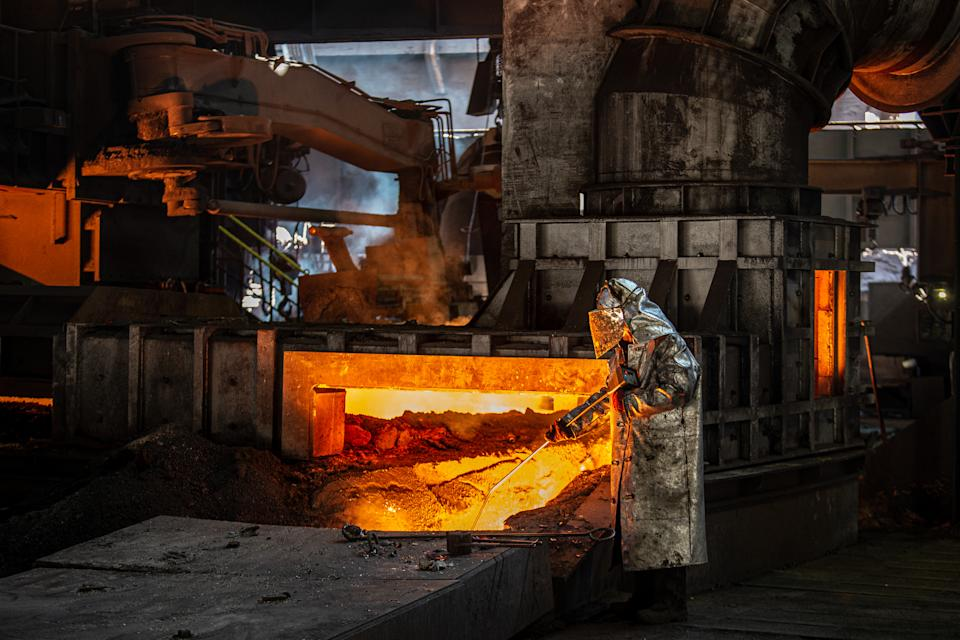 OSTRAVA, CZECH REPUBLIC - SEPTEMBER 8: A worker operates in the blast furnace at Liberty steel as Blast Furnace No. 2. which has been temporarily shut down due to a drop in demand following the coronavirus (Covid-19) pandemic, resumes working in Ostrava, Czech Republic on September 8, 2020. Liberty Ostrava a.s., part of the Liberty Steel group, is a global steel and mining company. Liberty Ostrava has an annual production capacity of 2 million tonnes of steel. Besides the Czech market, the company sells its products to more than 40 countries around the world. (Photo by Lukas Kabon/Anadolu Agency via Getty Images)