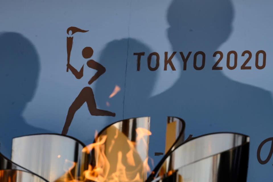 The logo for the Tokyo 2020 torch relay is pictured as the Olympic flame goes on display at the Aquamarine Fukushima aquarium in Iwaki in Fukushima prefecture March 25, 2020. — AFP pic