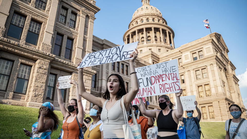 Pro-choice protesters march outside the Texas State Capitol on Wednesday, Sept. 1, 2021 in Austin, TX. (Sergio Flores For The Washington Post via Getty Images)