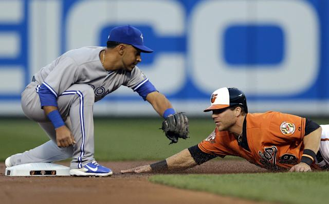 Toronto Blue Jays second baseman Maicer Izturis, left, tries but can't tag out Baltimore Orioles' Chris Davis in time as he steals second base in the first inning of a baseball game, Saturday, April 12, 2014, in Baltimore. (AP Photo/Patrick Semansky)