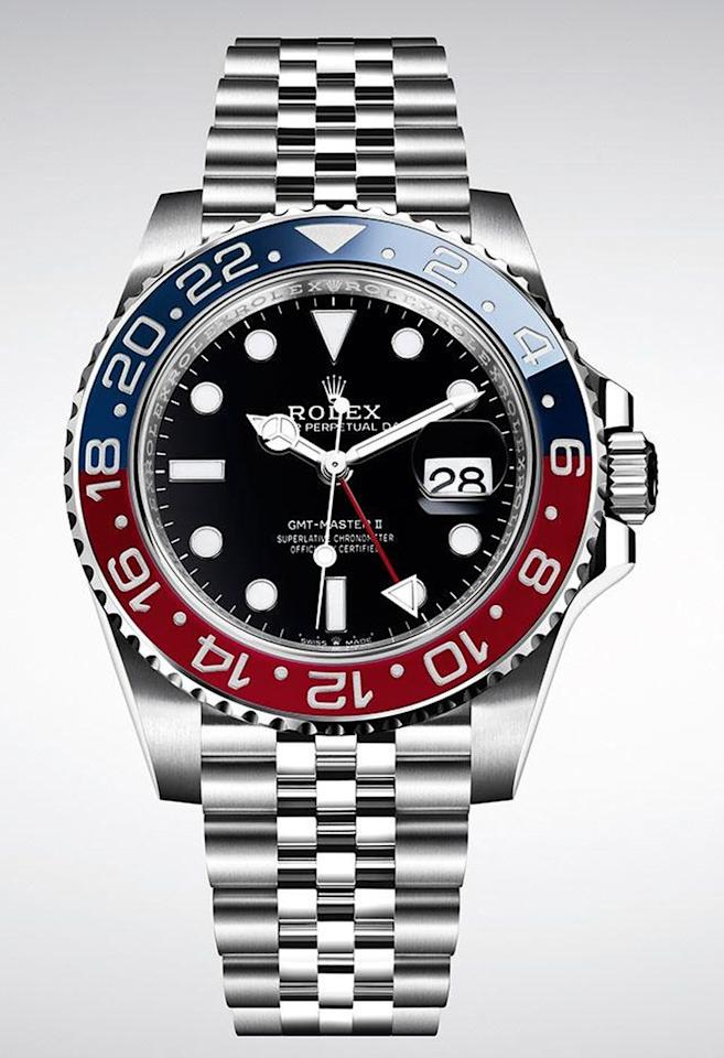 """<p><a class=""""body-btn-link"""" href=""""https://www.rolex.com/watches/gmt-master-ii.html"""" target=""""_blank"""">SHOP</a></p><p>A GMT Rolex is the ultimate globetrotter's watch, even if that concept exists only in theory right now. Introduced in 1955 with the iconic red and white 24-hour scale on the bezel, it earned the nickname 'Pepsi'. (A red and black 'Coke' appeared in 1983). The most recent version in steel adds a state of the art movement and a dressier 'jubilee' bracelet. Other than that, the design has changed little in 60 years – though you can file this under timeless, rather than vintage.</p><p> £7,750; <a href=""""https://www.rolex.com/watches/gmt-master-ii.html"""">rolex.com</a></p>"""