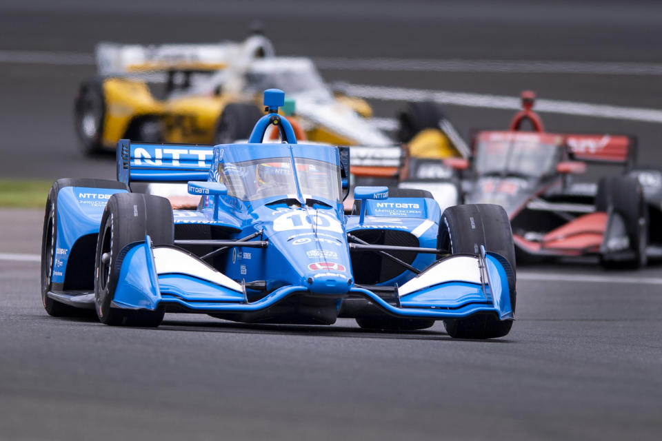 FILE - In this Aug. 13, 2021, file photo, Alex Palou (10) drives during a practice session for the IndyCar Indianapolis GP auto race at Indianapolis Motor Speedway in Indianapolis. The bad news for Alex Palou is that he's never raced before at Laguna Seca, the penultimate race in the IndyCar championship. The good news? Those trying to wrest the title away from Palou don't have much experience, either. Laguna Seca only returned to the IndyCar schedule in 2019 and then was canceled last year during the pandemic. (AP Photo/Doug McSchooler, File)