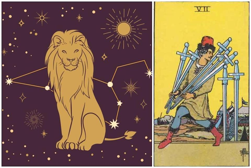Leo star sign, at left and Seven of Swords card, at right. Photos: Mixkit, Wikimedia Commons