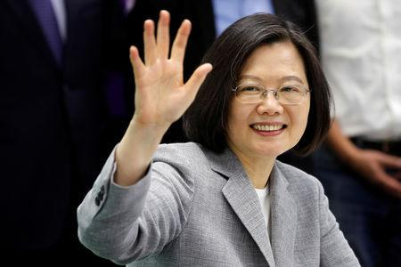 Taiwan President Tsai Ing-wen attends a ceremony to sign up for Democratic Progressive Party's 2020 presidential candidate nomination in Taipei