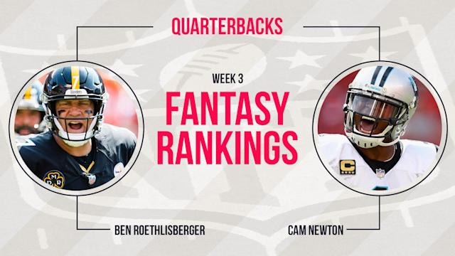 The top two quarterbacks from last year hold the top two spots in our Week 3 fantasy rankings for QB. See the full list, and find out which struggling quarterbacks we think will snap out of their funk.