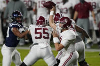 Alabama quarterback Mac Jones (10) releases a pass during the first half of the team's NCAA college football game against Arkansas in Oxford, Miss., Saturday, Oct. 10, 2020. (AP Photo/Rogelio V. Solis)