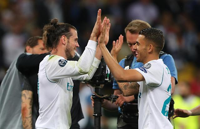 Soccer Football - Champions League Final - Real Madrid v Liverpool - NSC Olympic Stadium, Kiev, Ukraine - May 26, 2018 Real Madrid's Gareth Bale celebrates with Dani Ceballos after winning the Champions League at the end of the match REUTERS/Hannah McKay