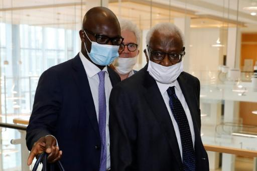 Lamine Diack (R) was head of athletics' world governing body for 16 years