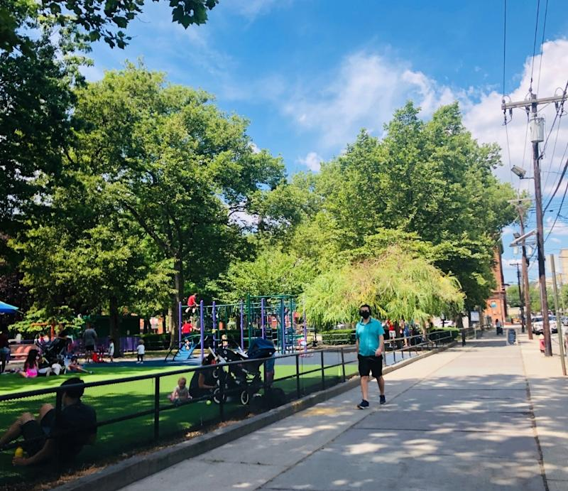 Playgrounds in Hoboken reopened Thursday. (These kids in Church Square Park last Friday apparently couldn't wait). Anyone over 2 must wear a mask on the playground.