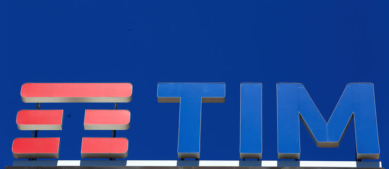 FILE PHOTO: Telecom Italia's logo for the TIM brand is seen on building roof downtown Milan