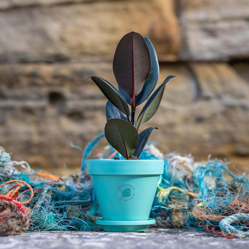 "<p>These plant pots are made from discarded rope and fishing nets. Manufactured in the UK, the circular economy product raises awareness of the ocean plastic problem.<br></p><p><a href=""https://oceanplasticpots.com/"" rel=""nofollow noopener"" target=""_blank"" data-ylk=""slk:www.oceanplasticpots.com"" class=""link rapid-noclick-resp""><strong>www.oceanplasticpots.com</strong></a></p>"