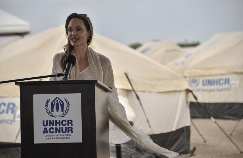 MAICAO, COLOMBIA - JUNE 08: United Nations High Commissioner for Refugees (UNCHR) Special Envoy Angelina Jolie speaks during a press conference after visiting a refugee camp in the border between Colombia and Venezuela on June 8, 2019 in Maicao, Colombia. UN and International Organization for Migration (IOM) announced yesterday that 4 million of Venezuelans have left their country since 2015 due to the social, political and economic crisis, which means they are of the single largest population groups displaced from their country globally. The camp in Maicao has 60 tents which can accommodate up to 350 people. Due to high demand, UNHCR is considering an expansion to give shelter to 1,400 people. Colombia it the top host of Venezuelan migrants and refugees, accounting 1.3 million. (Photo by Guillermo Legaria/Getty Images)