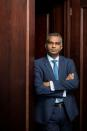 Viswas Raghavan, Chief Executive Officer for J.P. Morgan in Europe, Middle East and Africa, poses at the companies offices, in London