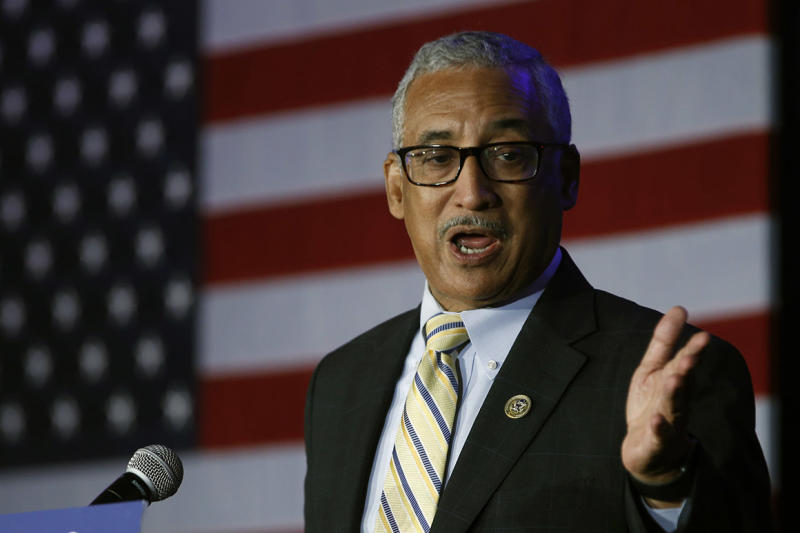Congressman Bobby Scott, D-Va, gestures during an election party in Falls Church, Va., Tuesday, Nov. 6, 2018. Scott was unopposed in his election.