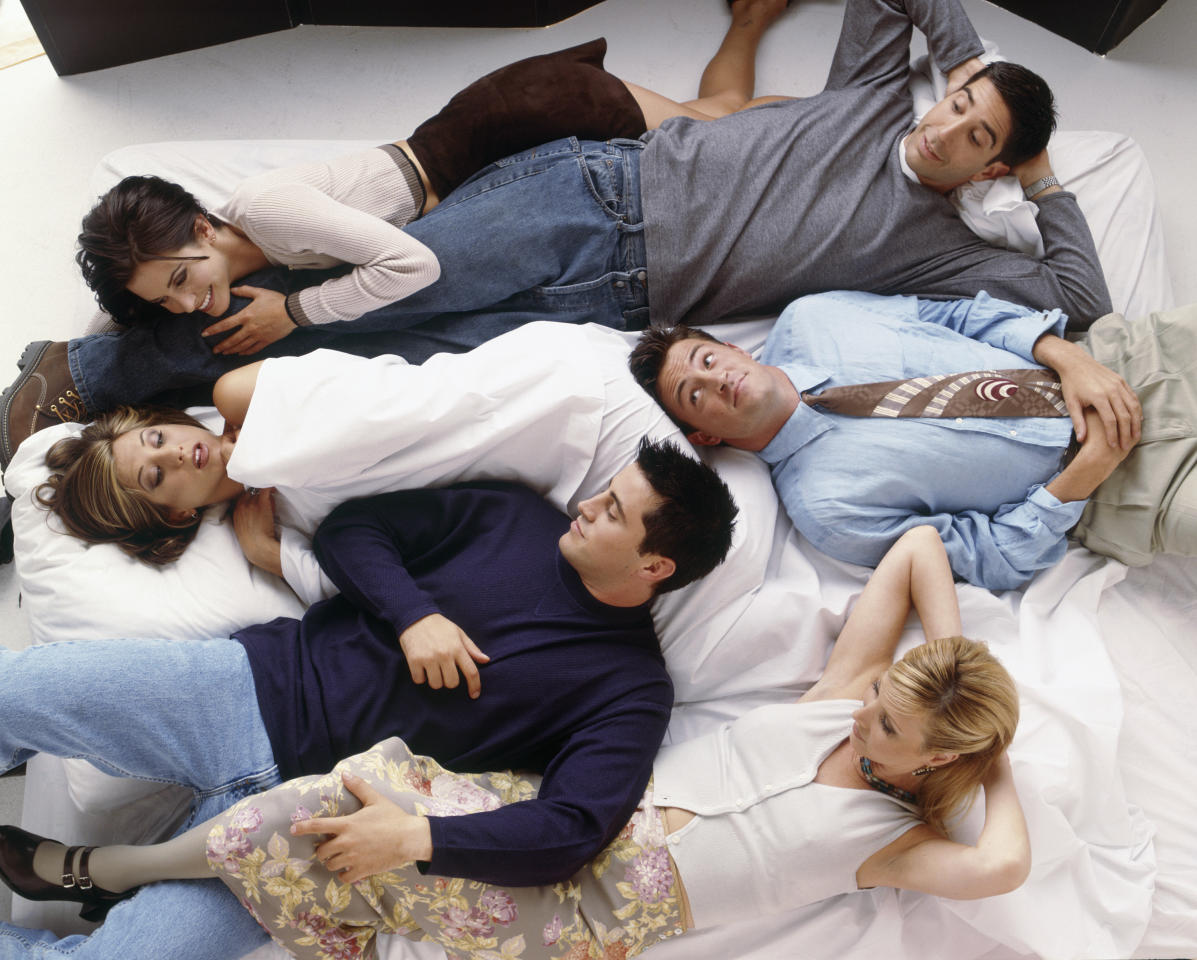 This early season special shows the cast in a giant bed. For some reason, Jennifer Aniston appears to be naked whilst all the others are fully clothed. (Getty Images)