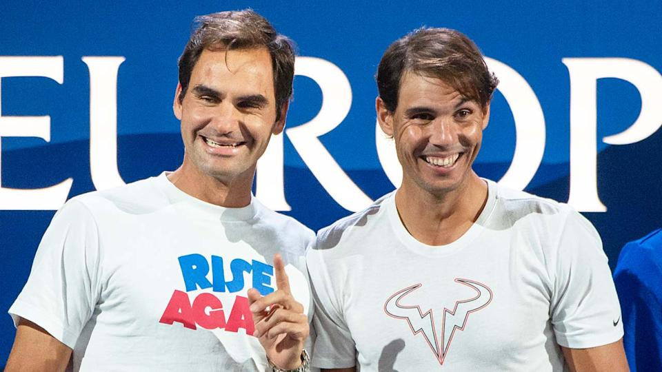Rafa Nadal (pictured right) sharing a laugh with Roger Federer (pictured left) at the Laver Cup.
