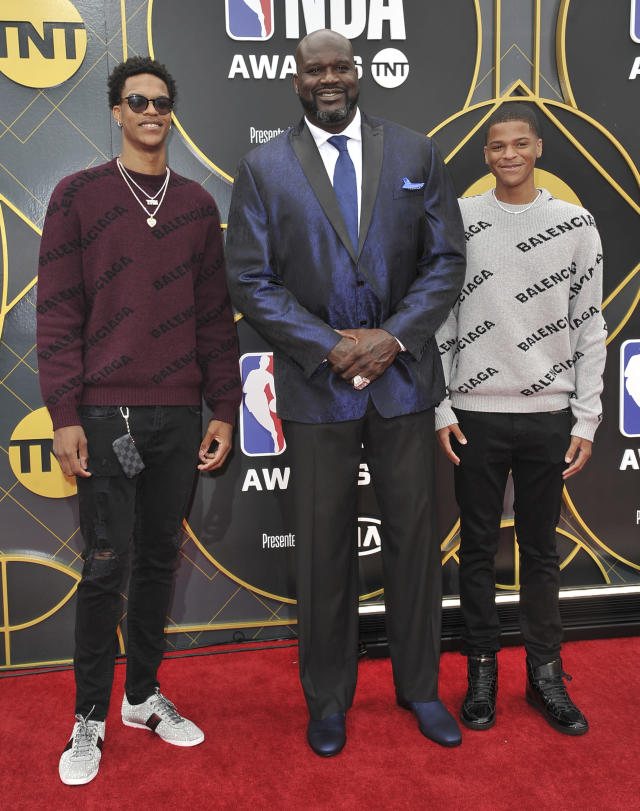 Shaquille O'Neal, center, and sons Shareef O'Neal, left, and Shaqir O'Neal arrive at the NBA Awards on Monday, June 24, 2019, at the Barker Hangar in Santa Monica, Calif. (Photo by Richard Shotwell/Invision/AP)