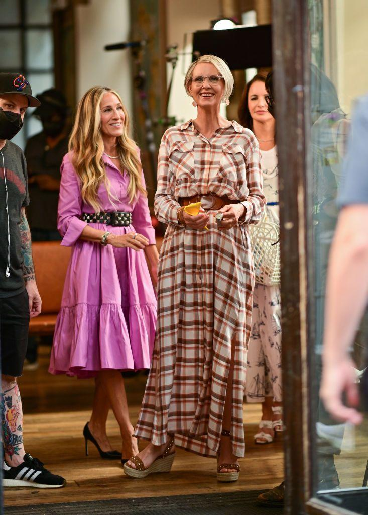 """<p>With Charlotte in Emilia Wickstead and Carrie in Carolina Herrera, Miranda wore a plaid L'Agence shirt dress paired with Maje studded wedge sandals (spotted by <a href=""""https://www.instagram.com/thetvshowcloset/"""" rel=""""nofollow noopener"""" target=""""_blank"""" data-ylk=""""slk:@thetvshowcloset"""" class=""""link rapid-noclick-resp"""">@thetvshowcloset</a>) for her lunch date with her two best pals. </p><p><a class=""""link rapid-noclick-resp"""" href=""""https://www.selfridges.com/GB/en/cat/maje-fardane-studded-leather-wedge-sandals_R03735989/"""" rel=""""nofollow noopener"""" target=""""_blank"""" data-ylk=""""slk:SHOP NOW"""">SHOP NOW</a> Fardane studded leather wedge sandals in black, £199.20<br></p>"""