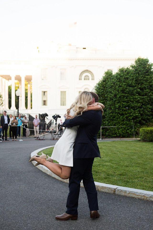 She was swept off of her feet by the proposal. (Photo: Twitter)