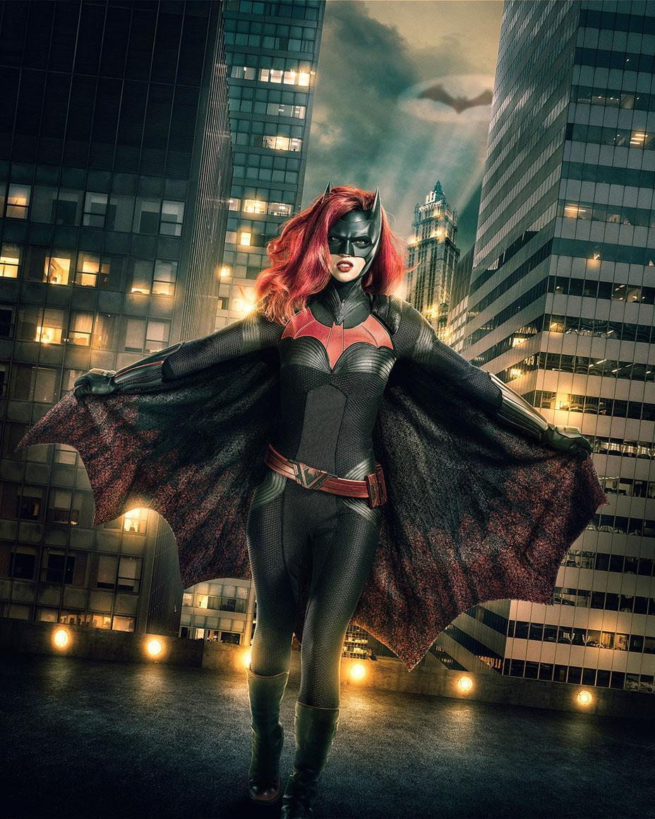 Ruby Rose as Batwoman; that's Wayne Tower in the background. (Photo: JSquared Photography/The CW)