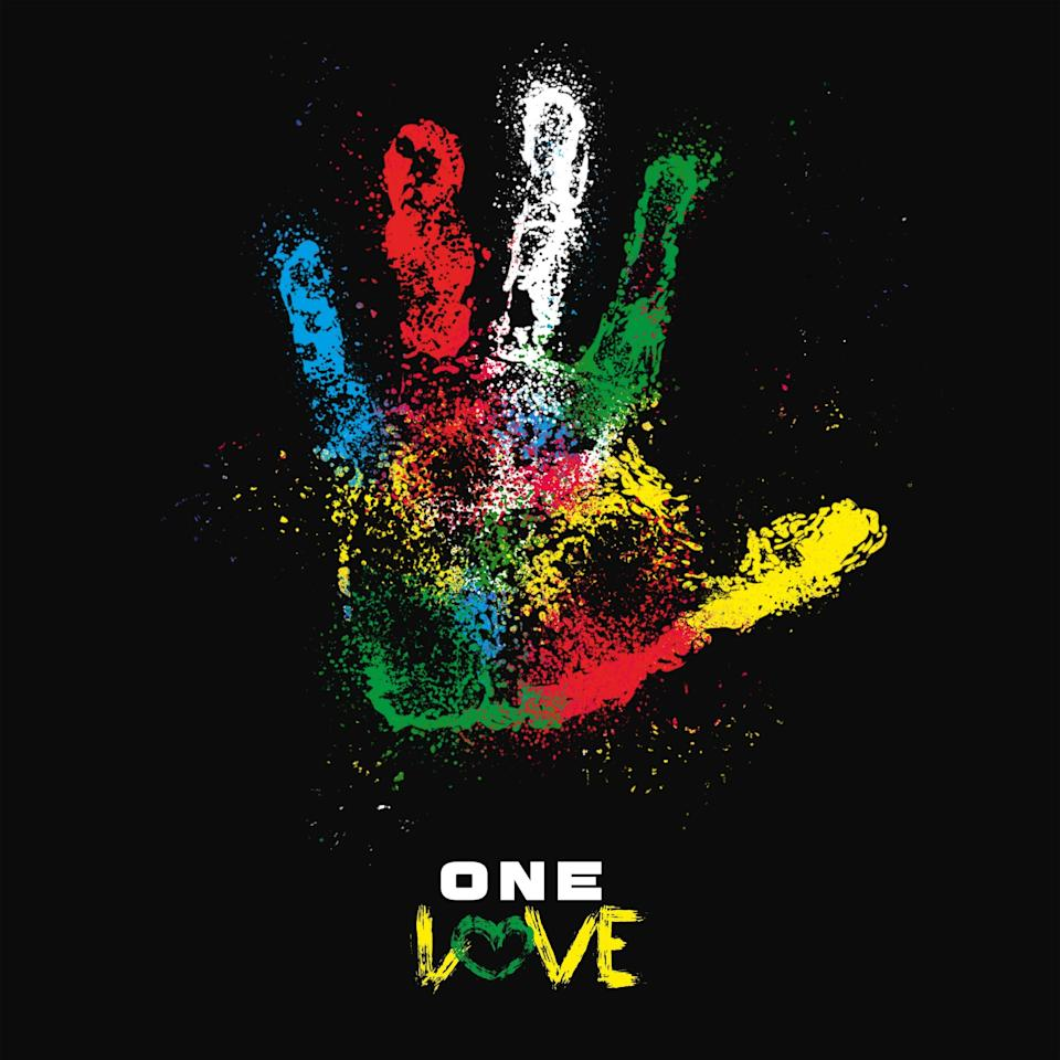 Artwork for the reimagined version of One Love, recorded by Bob Marley's family (PA)