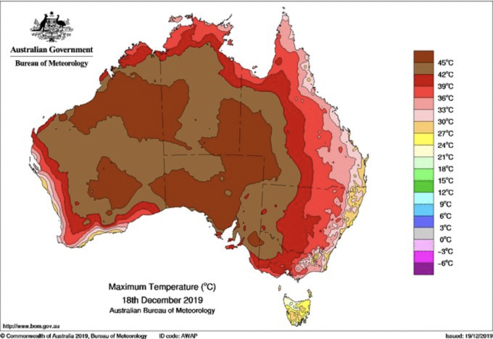 A Bureau of Meteorology map showing the maximum temperatures recorded in Australia on Wednesday, December 18, 2019.