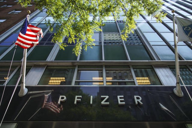 The Pfizer world headquarters in Midtown Manhattan on July 29, 2019 in New York City. (Drew Angerer/Getty Images)