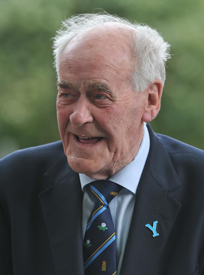 Former Yorkshire cricketer Brian Close arrives at York Minster for a service to mark the 150th Anniversary of Yorkshire County Cricket Club.