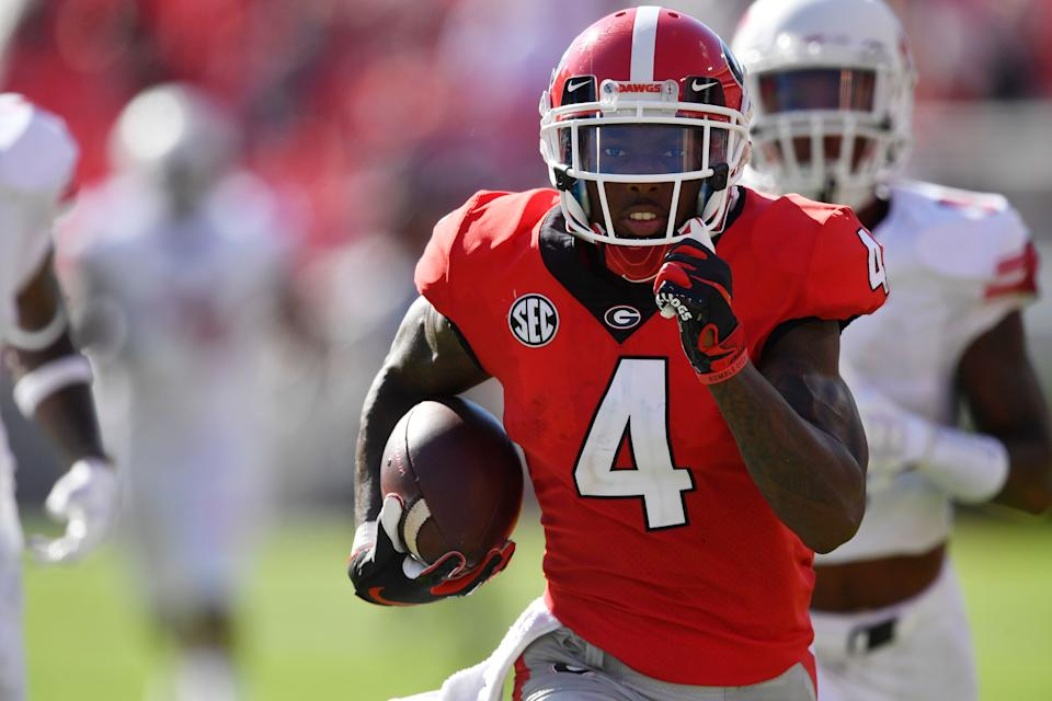 Georgia wide receiver Mecole Hardman (4) runs for a touchdown against Austin Peay during the first half of an NCAA college football game, Saturday, Sept. 1, 2018, in Athens, Ga. (AP Photo/Mike Stewart)