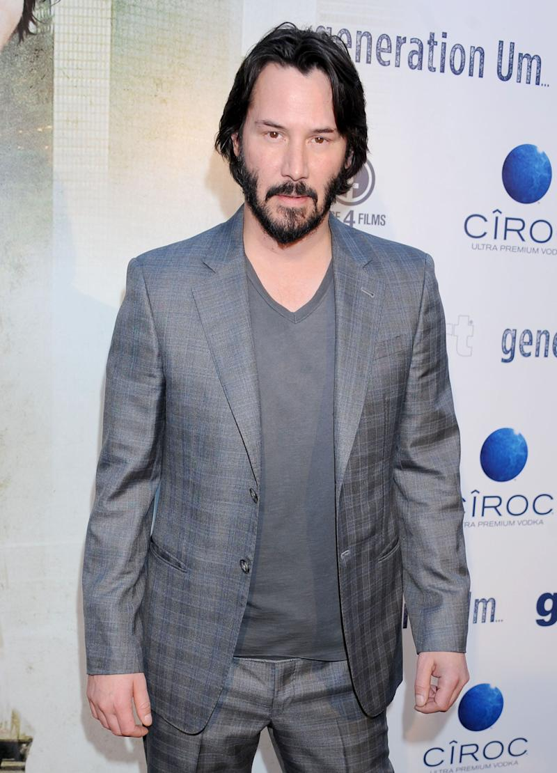 "Reeves arrives at the Los Angeles premiere of ""Generation UM"" at ArcLight Hollywood on May 2, 2013."