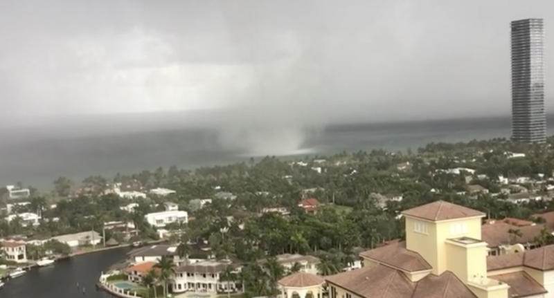Pictured is a water spout off Golden Beach in Florida.