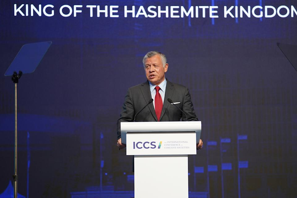 King Abdullah II of Jordan delivers the keynote address at the International Conference on Cohesive Societies (ICCS) at Raffles City Convention Centre on Thursday, 21 June 2019. PHOTO: ICCS
