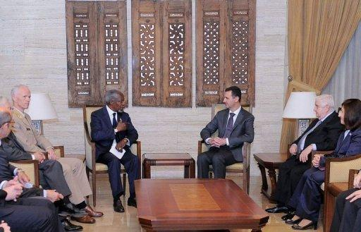 Syria envoy Kofi Annan (left) meets Syrian President Bashar al-Assad in Damascus Tuesday