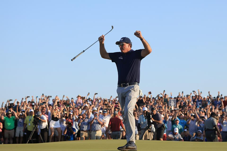KIAWAH ISLAND, SOUTH CAROLINA - MAY 23: Phil Mickelson of the United States celebrates on the 18th green after winning during the final round of the 2021 PGA Championship held at the Ocean Course of Kiawah Island Golf Resort on May 23, 2021 in Kiawah Island, South Carolina. (Photo by Sam Greenwood/Getty Images)