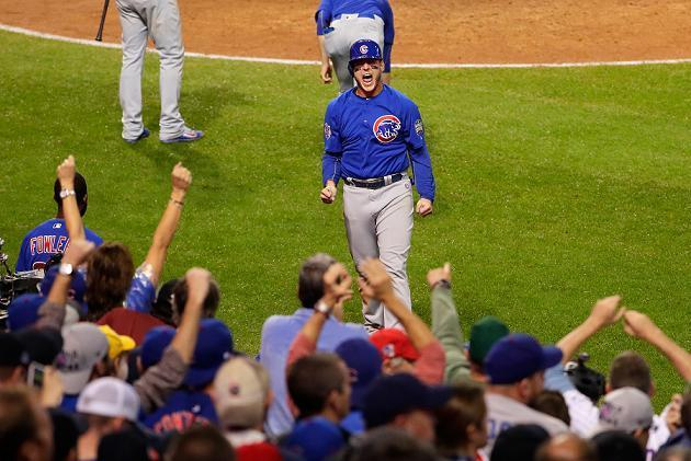 Anthony Rizzo celebrates after scoring in the 10th inning of World Series Game 7. (Getty Images)