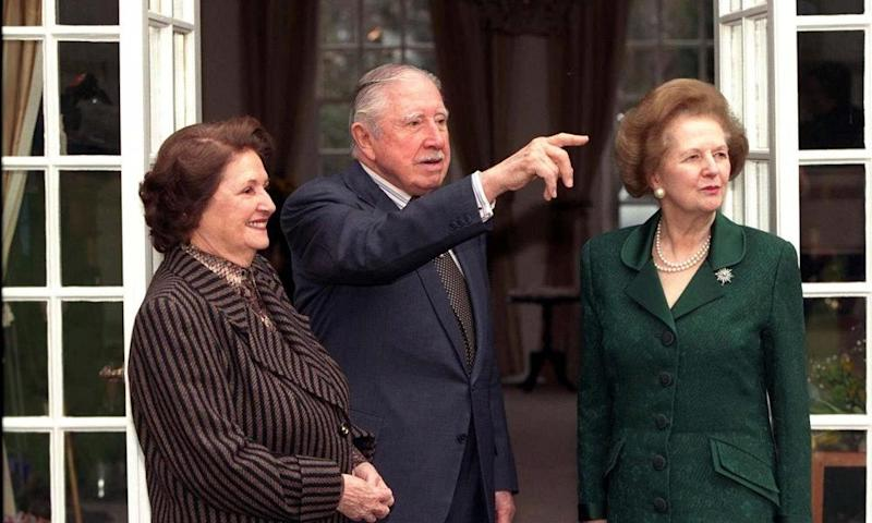 Augusto Pinochet with his wife Licia Hiriat and Margaret Thatcher