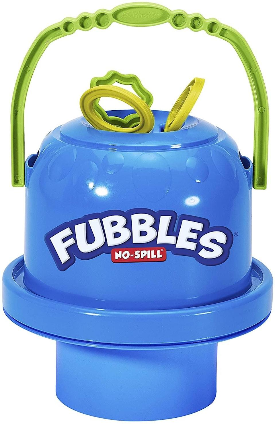 <p>Bubbles are the ultimate toddler toy, and the <span>Little Kids Fubbles No-Spill Big Bubble Bucket</span> ($13, originally $17) is perfect for your I-can-do-it toddler. With big bubble wands in a spill-proof bucket, kids can blow bubbles all day.</p>
