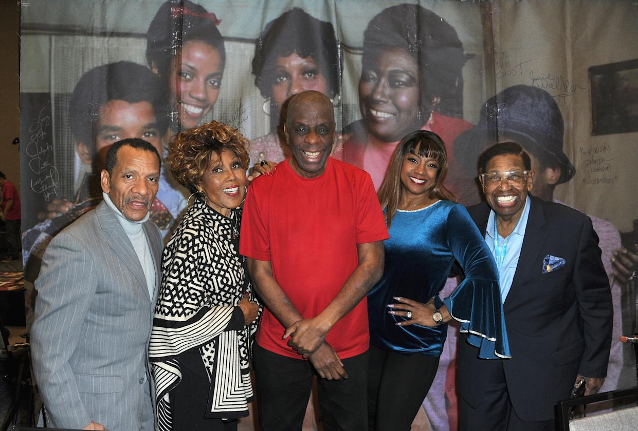 Ralph Carter, Ja'Net DuBois, Jimmie Walker, BernNadette Stanis and Johnny Brown attended the 2020 Hollywood Show on Feb. 1, 2020 in Burbank, Calif. (Photo: Getty Images)